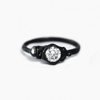 Black silver ring with artificial diamonds