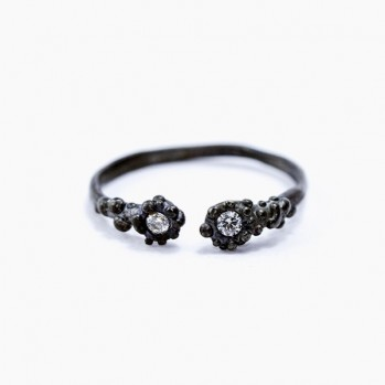 Black silver ring with two artificial diamonds