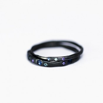 Limited Set - Stunning oxidized silver ring consisting of two rings