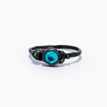 Ring made of oxidized silver with blue stones