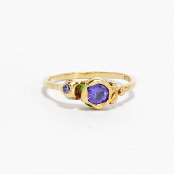 Gold-plated silver ring with purple and green stones