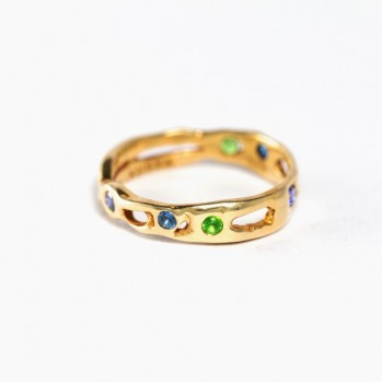 Gold-plated silver ring with green and blue stones