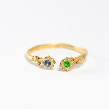 Gold-plated silver ring - with two blue and green stone