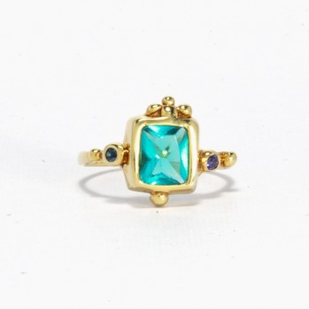 Gold-plated silver ring with turquoise and purple stones