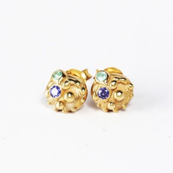 Gold plated earnings studs with colorful gems