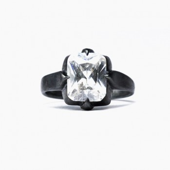 Black ring with one large artificial diamond